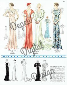 McCall 7463, 7390 and 7405 in a 1934 catalog   Evening Dresses