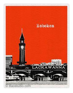 Hoboken New Jersey Art Print NJ (Style1) -  World Traveler Series City Skyline Poster - Available in 56 Colors - UNJ039