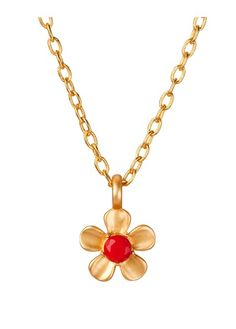 DAISY CORAL PENDANT GOLD BP, FINISH