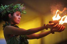 Hawaiian Dancer with Firepots by Nadine Rippelmeyer.  www.theartlocation.com, www.nadinerippelmeyerart.com