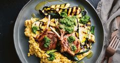 Tuck into these juicy lamb cutlets served with a creamy chickpea puree and grilled zucchini salad.