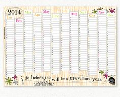 Printable 2014 Wall Planner - This Will be a Marvellous Year Wall Planner, Greek Art, Digital Wall, My Doodle, As You Like, Watercolor Illustration, Fun Projects, Custom Design, Printables
