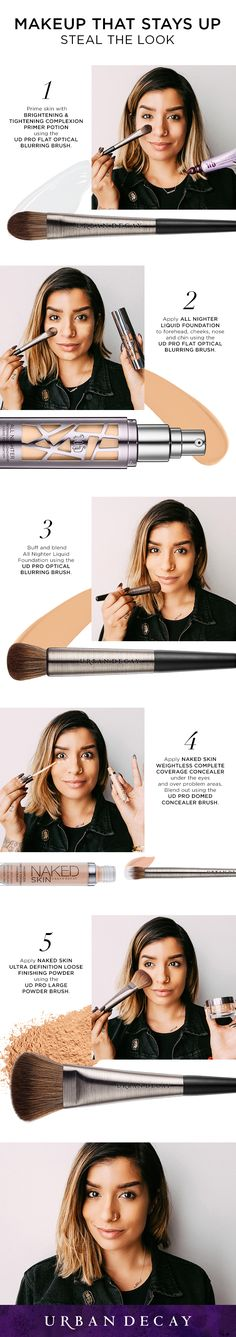 Makeup Tips & Tutorials : Picture Description All Nighter Liquid Foundation provides full coverage with a modern matte finish that never looks overdone. Here are 5 easy steps for achieving a smooth, long-lasting look! Full Makeup, Love Makeup, Makeup Tips, Makeup Looks, Makeup Ideas, All Things Beauty, Beauty Make Up, Hair Beauty, No Foundation Makeup