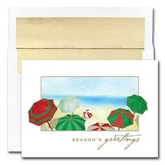 Beach Umbrellas Boxed Holiday Card