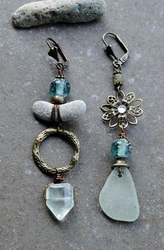 Sea Glass Earrings Asymmetrical earrings Mismatched