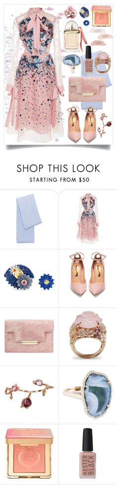 """Pink Perfect"" by celeste-menezes ❤ liked on Polyvore featuring Ton Sur Ton, Elie Saab, Alice Cicolini, Rupert Sanderson, Plukka, Too Faced Cosmetics, Kester Black and Chloé"