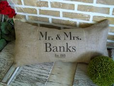 Mr & Mrs Name  Est Date Pillow by SimplyFrenchMarket on Etsy, $37.00