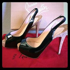 """Christian Louboutins cork slingback Wore once! Added protective slip grip. Beautiful patent leather black sling back cork heel. Almost 5"""" tall. Very comfortable. Selling shoes only, no box or dust bag. Christian Louboutin Shoes Heels"""