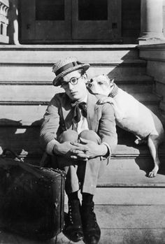 Just came across this photo of Harold Lloyd and his dog. I did not know he had a Pit Bull!