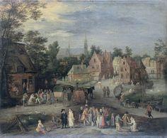 Pieter Gijsels | A Village in Flanders, Pieter Gijsels, 1650 - 1691 | Gezicht in een Vlaams dorp. Op de voorgrond staat een groep toeschouwers rond een man met een dansende hond, rechts verkoopt een vrouw vis. Links dansende boeren voor een herberg waarlangs een huifkar rijdt. Meer naar achteren loopt de weg langs een water met boten tussen de huizen van het dorp. In de verte een kerk.