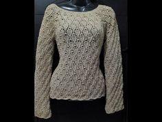 Tutorial Blusa Hojitas 1ra Parte Crocheteando con la Comadre - YouTube Lidia Crochet Tricot, Filet Crochet, Crochet Stitches, Crochet Woman, Crochet Baby, Crochet Top, Granny Stripes, Blouses For Women, Sweaters For Women