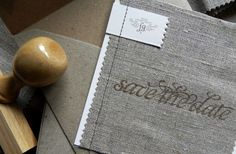 Burlap-esque fabric for your wedding invites. What do you think?