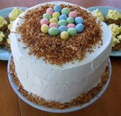 Bird Nest Cake:  Decorate with toasted coconut.