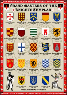 Grand Masters of the Knights Templar Poster by williammarshalstore on DeviantArt Rose Croix, Crusader Knight, Military Orders, Landsknecht, Medieval Knight, Freemasonry, Chivalry, Family Crest, Coat Of Arms