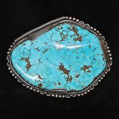 Massive, Gem Quality Morenci Turquoise Sterling Silver Navajo Belt Buckle
