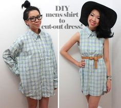 DIY Mens shirt into cut-out dress, I might try this since the hubs rips all his dress shirt sleeves...