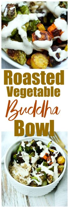 Buddha Bowl Recipe--vegan and gluten-free bowl with brussels sprouts, carrots, and broccoli and brown rice. So delicious for a healthy lunch or dinner!
