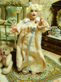 OOAK 5.5 inch Poseable Miniature Dollhouse Doll Lady by LoreleiBlu, $98.00
