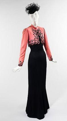 Beaded bolero jacket and evening gown, Elsa Schiaparelli, 1940. Collection of the Metropolitan Museum.