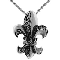 Carolina Glamour Collection Jewelry Trends Stainless Steel Fleur De Lis Pendant on a 20-inch Rope Chain Necklace