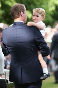 He's been good so long, daddy....Prince William, Duke of Cambridge and Prince George of Cambridge leave the Church of St Mary Magdalene on the Sandringham Estate for the Christening of Princess Charlotte of Cambridge on July 5, 2015