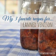Crockpot Recipes for Canned Venison - I love the felling of having my pantry stocked with jars and jars of canned venison. Crockpot recipes for canned venison are quick and easy and the meat is always tender and moist. Recipes With Canned Venison, Canned Meat, Venison Recipes, Canning Recipes, Slow Cooker Recipes, Crockpot Recipes, Venison Meals, Jerky Recipes, Deer Recipes