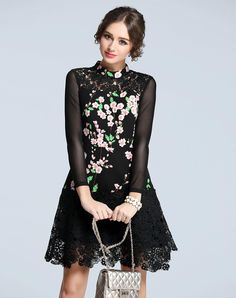Check the details and price of this Black Floral Print Insert Lace Mini Dress (Black, FLENKIY) and buy it online. VIPme.com offers high-quality Day Dresses at affordable price.