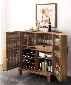 For a smaller standalone bar, the Marin Natural Bar Cabinet from Crate and Barrel gives you lots of storage space in a compact design.