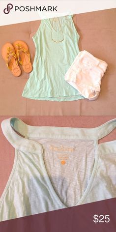 Lilu Pulitzer top mint green Lightweight mint green tank from Lilly Pulitzer. Looks great with their palazzo pants, beach pants, or just a pair of denim shorts. EUC only worn twice on a vacation Lilly Pulitzer Tops