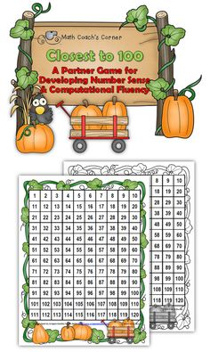 Math Coach's Corner: Closest to 100, a fall-themed freebie for finding parts of 100.