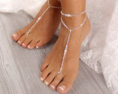 Stuff to buy Beaded Foot Jewelry Sandal Anklet Crystal Wedding Foot Jewelry Beaded Foot Jewelry, Beach Jewelry, Fine Jewelry, Women Jewelry, Bridal Jewelry Sets, Wedding Jewelry, Bridal Accessories, Silver Anklets, Bare Foot Sandals