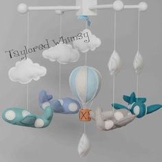 Airplane Mobile  Hot Air Balloon Mobile  Custom by TayloredWhimsy, $95.00