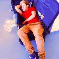 "Niall sleeping in a suitcase!!!!!!!!! ""GET OUT OF MY SUITCASE"" Screamed an old granny hitting him with her bag!"