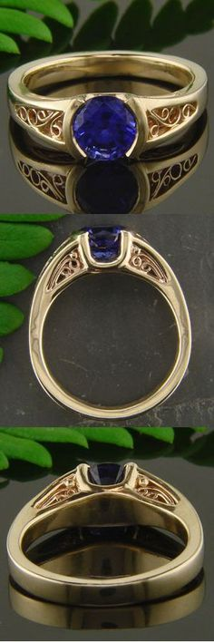 Artists at work: Green Lake Jewelry Works recently made this 18K yellow gold mounting which boasts a amazing natural blue sapphire and old world filigree along the shank