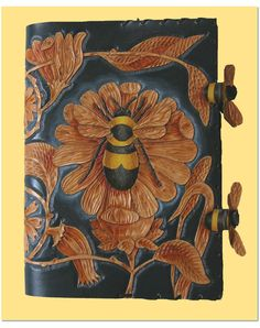 Bumblebee hand carved leather book cover