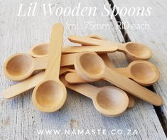 Lil #Wooden #Spoon . 1ml . 75mm . R10 each Perfect for honey, sand, sugar, salts etc... www.namaste.co.za #NamasteProducts2 Wooden Spoon, Measuring Spoons, Salts, Namaste, Honey, Sugar, Tableware, Shop, Products
