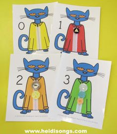 Pete the Cate free printable cards for 4 Groovy Buttons