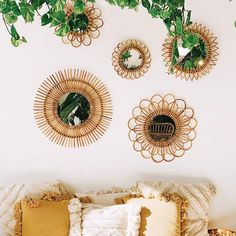 Natural Rattan Mirrors - - These mirrors will add a warm touch of boho charm to any space. Grab one to add to your gallery wall or purchase multiple to create a statement. S: dia. M: dia. L: dia. Boho Bedroom Decor, Boho Room, Boho Living Room, Room Ideas Bedroom, Wall Decor Boho, Cute Wall Decor, Bohemian Style Rooms, Boho Style Decor, Bedroom Designs