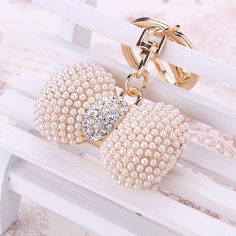 chaveiro!fashion Lovely pearl bow key chain ring holder,gold-plated llaveros rhinestone keychains,women bag&car accessories gift