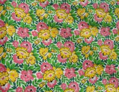 Antique Vintage Light Weight Romantic Roses Cotton Fabric ~ Red Pink on White