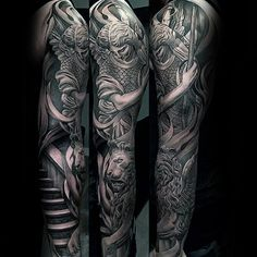 Angel With Lion Mens 3d Realistic Sleeve Tattoo