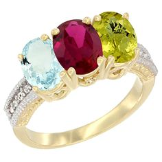 14K Yellow Gold Natural Aquamarine, Enhanced Ruby and Lemon Quartz Ring 3-Stone Oval 7x5 mm, sizes 5 - 10 ** Insider's special review you can't miss. Read more  : Ring Bands