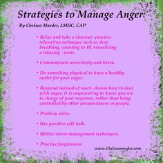 Strategies to manage anger