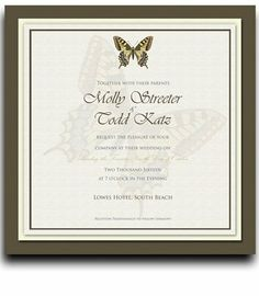175 Square Wedding Invitations - Butterfly Taupe & Harvest by WeddingPaperMasters.com. $458.50. Now you can have it all! We have created, at incredible prices & outstanding quality, more than 300 gorgeous collections consisting of over 6000 beautiful pieces that are perfectly coordinated together to capture your vision without compromise. No more mixing and matching or having to compromise your look. We can provide you with one piece or an entire collection in a one stop shopp...