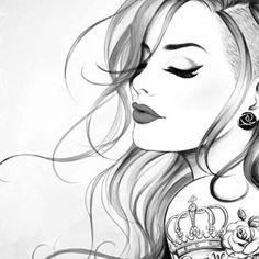 Girly Drawings, Art Drawings Sketches Simple, Pencil Art Drawings, Beautiful Drawings, Arte Fashion, Stippling Art, Salon Art, Beautiful Fantasy Art, Beauty Art