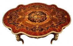 View this item and discover similar center tables for sale at - A stunning Italian century Napoleon III style exotic wood marquetry and ormolu center table. The table is raised on four cabriole legs with ormolu Antique Furniture For Sale, Victorian Furniture, Rustic Furniture, Painted Furniture, Outdoor Furniture, Cabinet Furniture, Luxury Furniture, Furniture Decor, Furniture Design