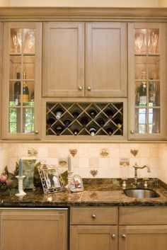 Wine Rack and Sink - traditional - kitchen - chicago - Cheryl D & Company Wet bar at opposite end of kitchen Wine Rack Furniture, Furniture Near Me, Cabinet Furniture, White Shaker Kitchen Cabinets, Rta Kitchen Cabinets, Bar Cabinets, Granite Kitchen, White Cabinets, Home Wet Bar