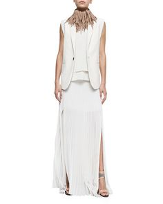 Brunello Cucinelli Clean Canvas Snap-Button Vest, Layered Silk Crepe Tank & Pleated Pull-On Maxi Skirt