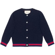 Gucci Baby Wool Cardigan With Web (835 RON) found on Polyvore featuring women's fashion, tops, cardigans, baby, children, girls 0-36m, gucci, wool top, cardigan top and woolen tops