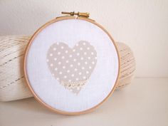 Polka dot nursery decor. Heart Hoop decor. by laLunaCreazioni